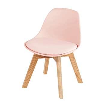 ICE Children's Pink and Oak Scandinavian Chair (H55 x W39 x D42cm)