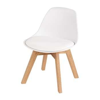 ICE Children's White and Oak Scandinavian Chair (H55 x W39 x D42cm)