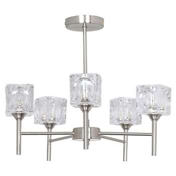 Ice Cube 5 Light Satin Chrome Ceiling Light (H37 x W43 x D43cm)