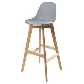 ICE Grey Scandinavian Bar Chair with Oak (H99 x W46 x D46cm)