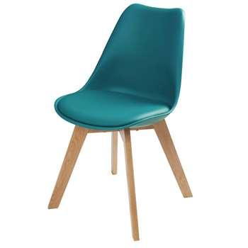 ICE Petrol Blue Scandinavian Chair with Oak (H84 x W48 x D54cm)