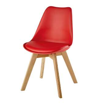 ICE Red Scandinavian Chair with Solid Oak (H84 x W48 x D54cm)