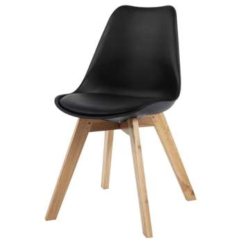 ICE Black Scandinavian Chair with Oak (H84 x W48 x D54cm)