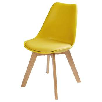 ICE Mustard Yellow Scandinavian Chair with Solid Oak (H84 x W48 x D54cm)