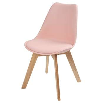 ICE Pastel Pink Scandinavian Chair with Oak (H84 x W48 x D54cm)
