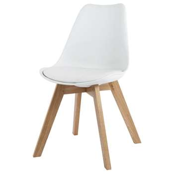 ICE White Scandinavian Chair with Solid Oak (H84 x W48 x D54cm)