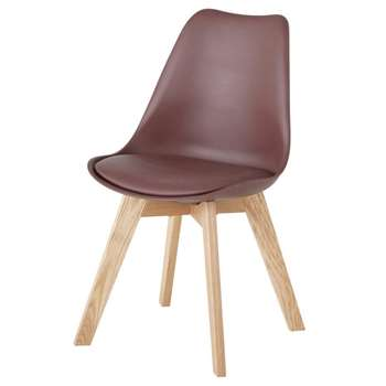 ICE Scandinavian-Style Chair in Wine and Oak (H84 x W48 x D54cm)