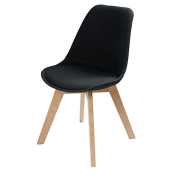 ICE Scandinavian-Style Fabric Chair in Black (H85 x W48 x D56cm)