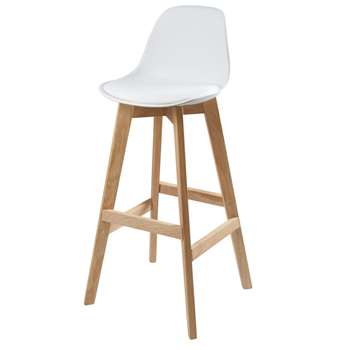 ICE White Scandinavian Bar Chair with Oak (H99 x W46 x D46cm)
