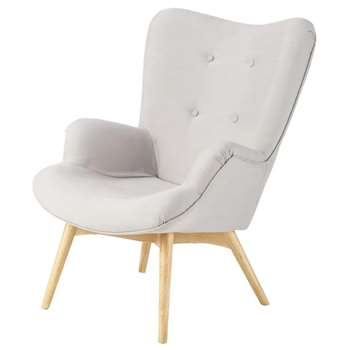 ICEBERG Scandinavian Light Grey Fabric Armchair (H91 x W69 x D80cm)
