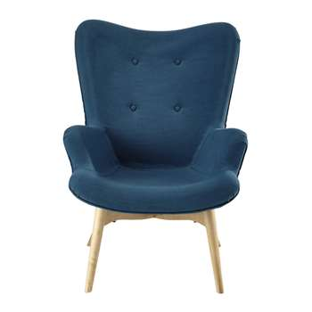 ICEBERG Fabric vintage armchair in petrol blue