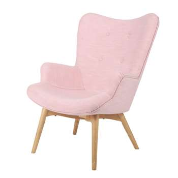 ICEBERG Fabric vintage armchair in pink (91 x 69cm)