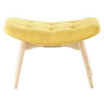 ICEBERG Scandinavian Yellow Fabric Pouffe/Footrest (H43 x W65 x D42cm)