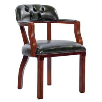 Icon Designs St Ives Court Leather Study Chair in Green