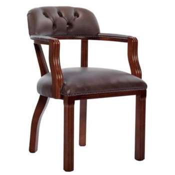 Icon Designs St Ives Court Leather Study Chair in Mocha