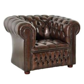 Icon Designs St Ives Windsor Leather Armchair in Brown
