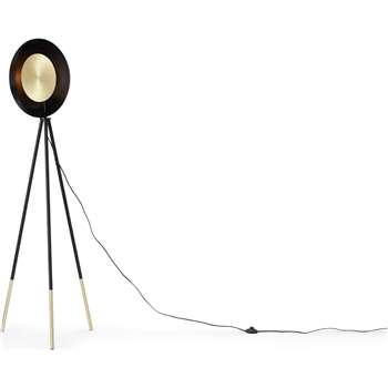 Idaho Tripod Floor Lamp, Brushed Brass & Black (H167 x W41 x D41cm)