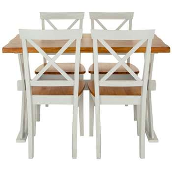 Ideal Home Axxon 120cm Dining Table + 4 Chairs, Cream/Oak