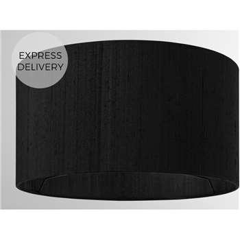Idris Silk Lamp Shade, 30 x 16cm, Black (H16 x W30 x D30cm)
