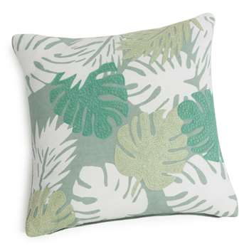 IGAPO embroidered green cotton cushion cover (40 x 40cm)