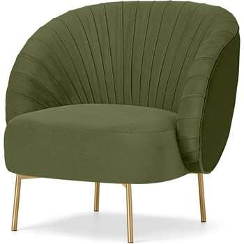 Ilana Accent Armchair, Fir Green Velvet (H76 x W76 x D74cm)