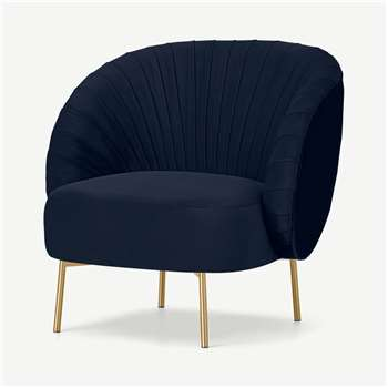 Ilana Accent Armchair, Interstellar Blue Velvet (H76 x W77 x D75cm)