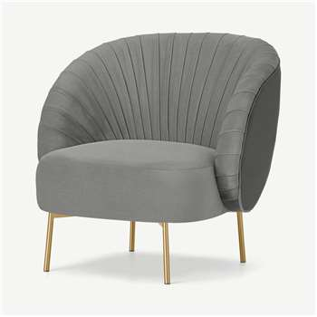 Ilana Accent Armchair, Light Grey Velvet (H76 x W77 x D75cm)