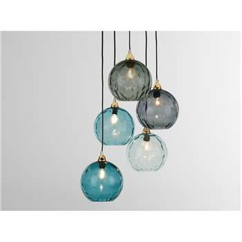 Ilaria Cluster Light, Blue Multi & Brass (H89 x W32 x D32cm)