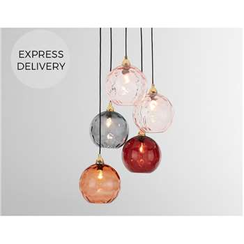 Ilaria Cluster Light, Pink Multi & Brass (H89 x W32 x D32cm)