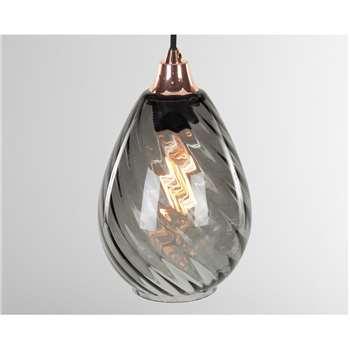 Ilaria Pendant lamp_Lamp Shade, Smoke Grey (H21 x W16 x D16cm)