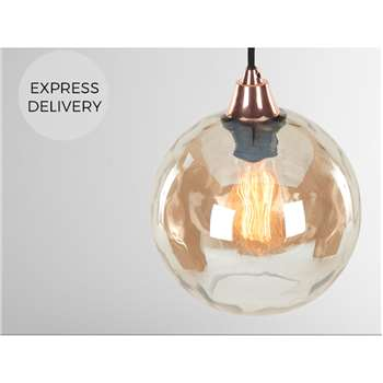 Ilaria Pendant Lamp Shade Round, Champagne (H23 x W20 x D20cm)