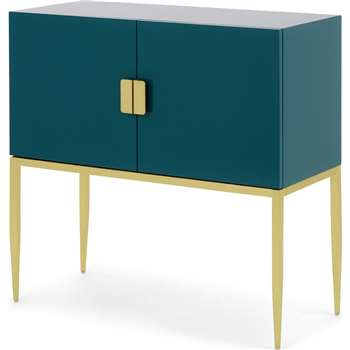Imma Sideboard, High Gloss Teal and Brass (H93 x W93 x D40cm)
