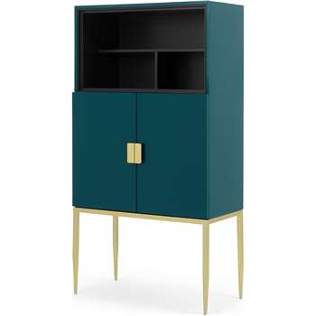 Imma Tall Drinks Cabinet, High Gloss Teal and Brass (H153 x W80 x D40cm)