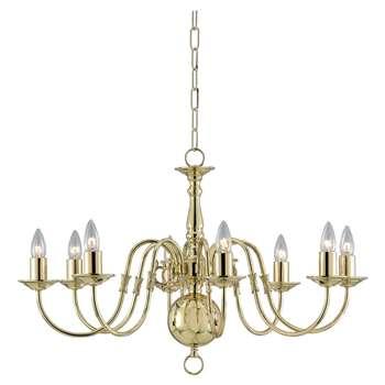 Impex Bruges 8 Arm Chandelier Ceiling Light, Polished Brass (H43 x W71 x D71cm)