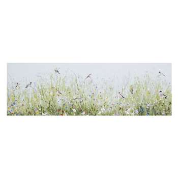 In The Hedgerow Birds Canvas (21 x 65cm)