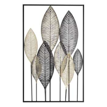 INAYA And Gold Metal Feather Wall Art In Black (84 x 53cm)