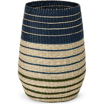 Inca Stripe Seagrass Laundry Basket, Blue (H60 x W40 x D40cm)