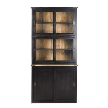 INDIES Black display case with 6 doors (H95 x W195 x D45cm)