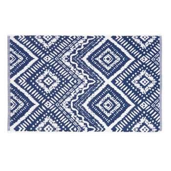 INDIGO Blue Cotton Bath Mat with Graphic Motifs (50 x 80cm)