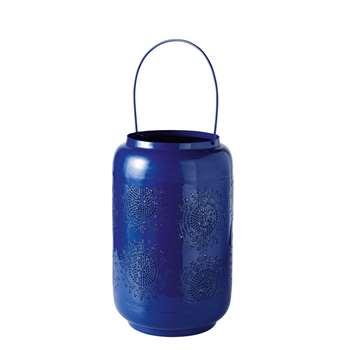 INDIGO Blue Etched Metal Lantern (43 x 27cm)