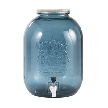 INDIGO Tinted Blue Glass Drinks Dispenser (H35 x W25 x D25cm)
