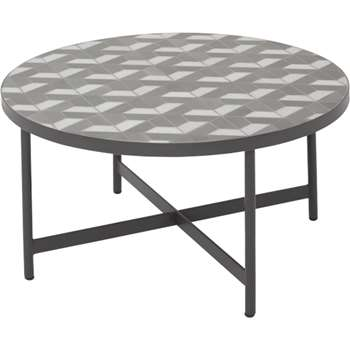 Indra coffee table, grey and white marble (40 x 75cm)