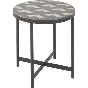 Indra side table, grey and white marble (55 x 44cm)