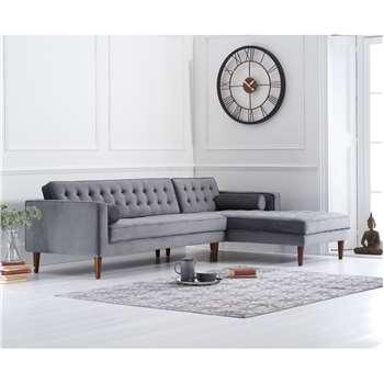 Indus Grey Velvet Right Facing Chaise Sofa (H87 x W174 x D75cm)