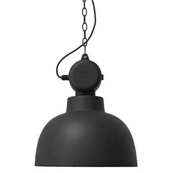 Industrial Factory Pendant Ceiling Light in Matt Black, Large - (Diameter 50cm)