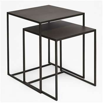 Industrial Gunmetal Nest Of Tables - Gunmetal (55 x 45cm)