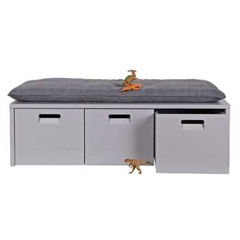 Industrial Kids Locker Storage Bench in Hertog Grey (36 x 120cm)