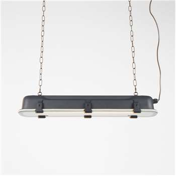Industrial Long Hanging Pendant Light in Black - Large (Width 130cm)