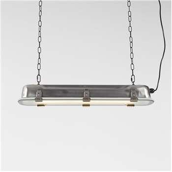 Industrial Long Hanging Pendant Light in Nickel - Large (Width 130cm)