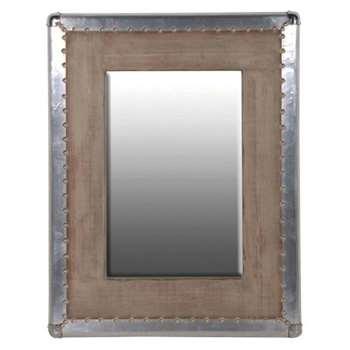 Industrial Metal Trimmed Wooden Mirror (90 x 70cm)